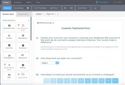 Interface of Customer Satisfaction Survey on SoGoSurvey