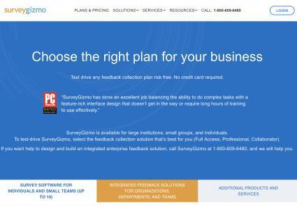 Homepage of SurveyGizmo