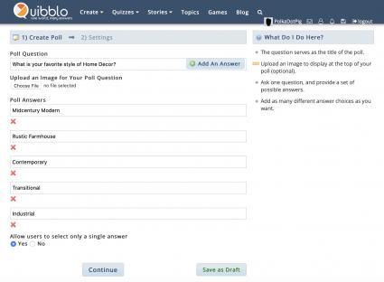 Quibblo interface creating a poll question survey