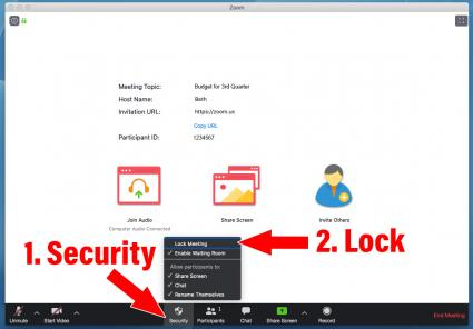 Setting up Security measures to Lock a Zoom meeting