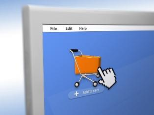 shopping cart on the computer