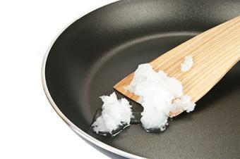 Coconut oil in pan