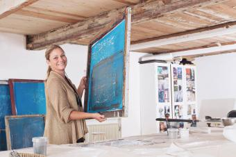 Woman screen printing