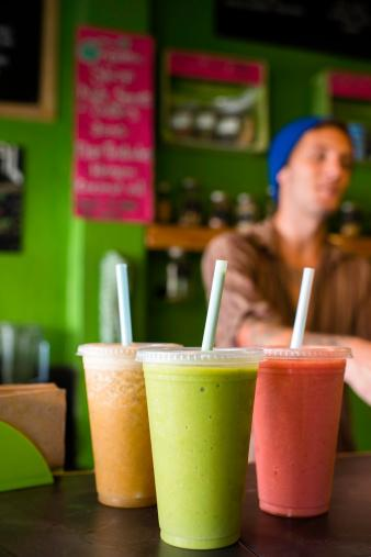 Organic smoothies on table