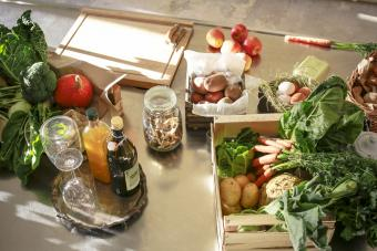 Fresh organic vegetables and fruits in a kitchen