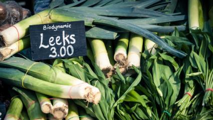 Biodynamically-raised leeks