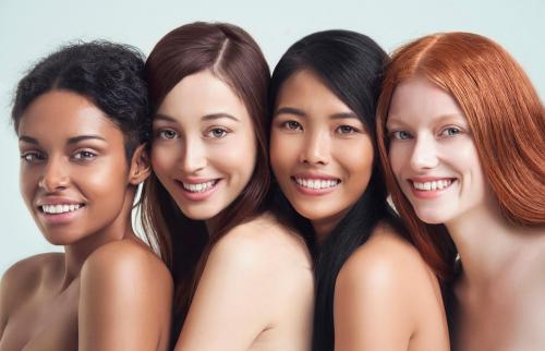 Multi-ethnic nude women posing together