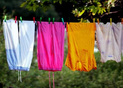 Clothes hanging out to dry.