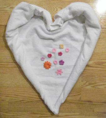 towel origami heart step 3