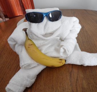 sitting towel origami monkey