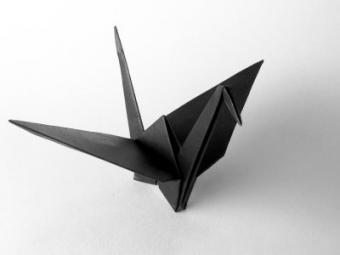 black origami crane