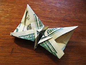 Folded 50 dollar bill butterfly