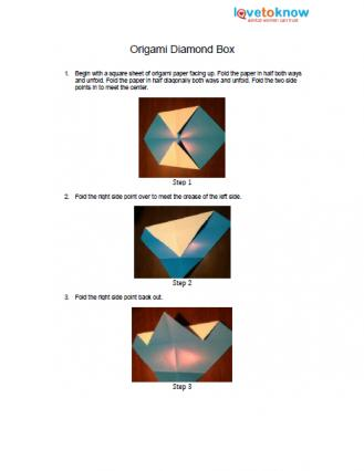 Origami Diamond Box Pattern