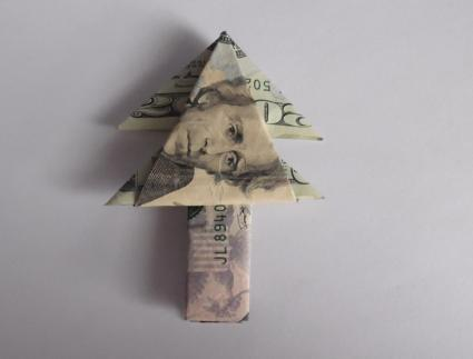 Christmas Origami Using Money