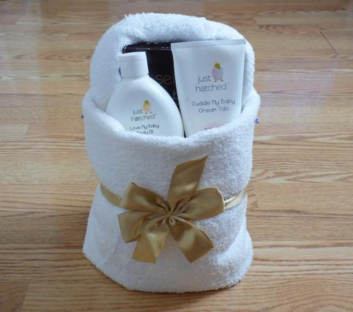 towel origami basket