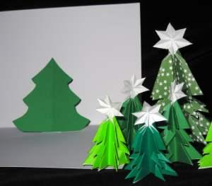 3-D Kirigami Christmas Trees and Pop-Up Card
