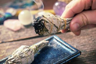 Burning natural white sage incense