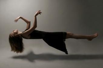 Woman floating in midair