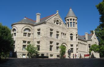 Front and western side of Maxwell Hall on the campus of Indiana University in Bloomington, Indiana, United States