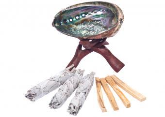 Sage smudge sticks and abalone shell