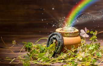 Irish pot of gold at end of rainbow