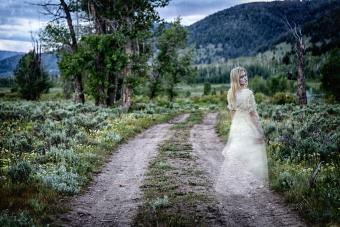 Spirit woman on dirt road
