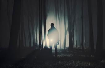 man standing in dark forest