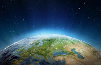 Overview of edge of the earth from outer space