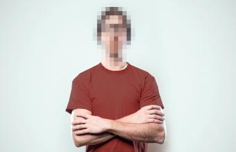 Man with pixel face
