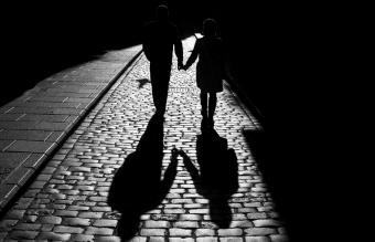 couple walks on the streets