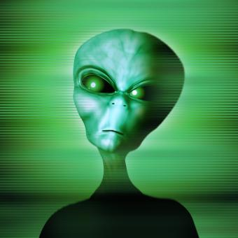Green alien with green eyes
