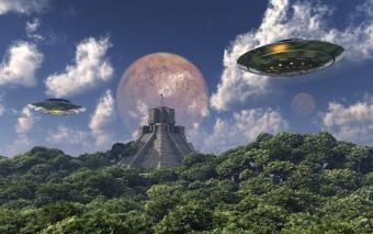 Ancient ruins with aliens and spaceships