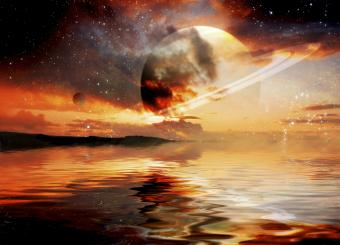 Alien planets outer space