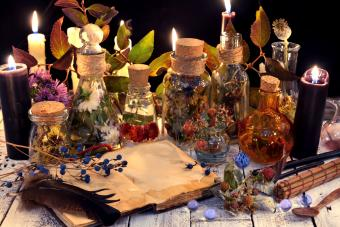 Book with herbs and berries, black candle and magic objects
