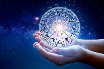 Astrology in the sky with many stars and moons