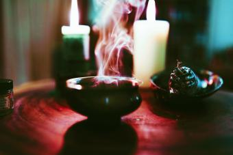 Smoke and candles altar