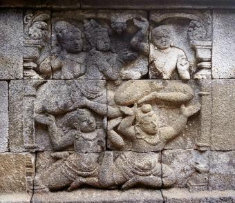 Mural of flying monks