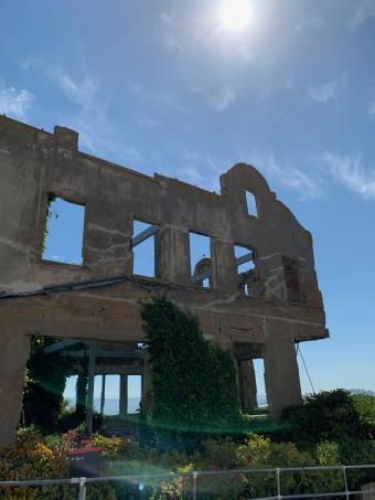 Crumbling outbuilding on Alcatraz Island