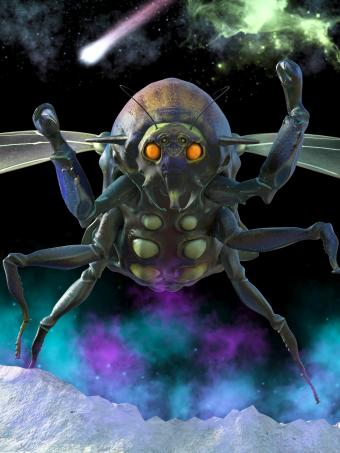 Gigantic winged bug on the outer space