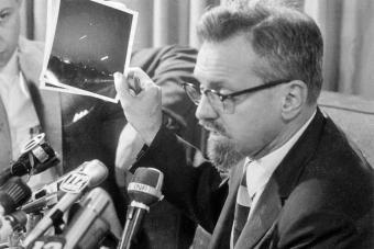 Dr. H. Allen Hynek Giving Press UFO Update
