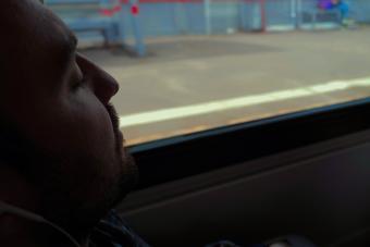 Man sleeping in the train