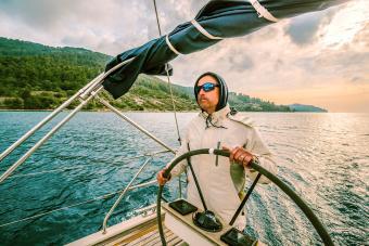 Man navigating boat