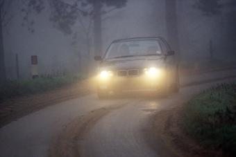 Driving along country lane in fog