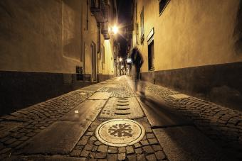 In the old alley at night