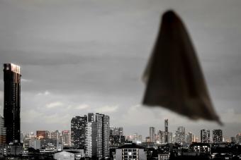 Blurred ghost sheet flying in dusk sky
