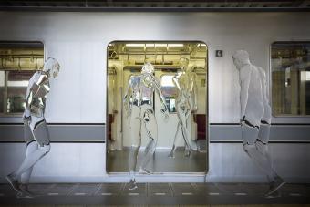 Invisible men taking a train