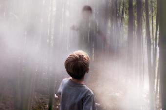 Boy standing in the woods looking at a supernatural ghost