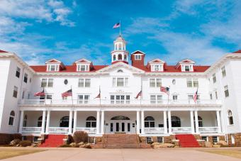 Stanley Hotel with blue sky in Estes Park, Colorado