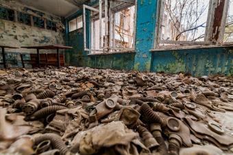 Abandoned school in the city of Pripyat, Ukraine