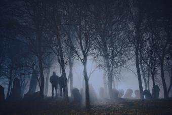 Silhouette Men Standing By Graveyard